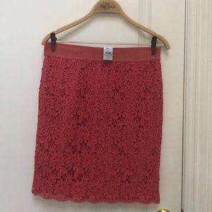Pink lace line skirt mini